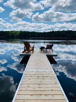 Muskoka floating dock with cedar decking