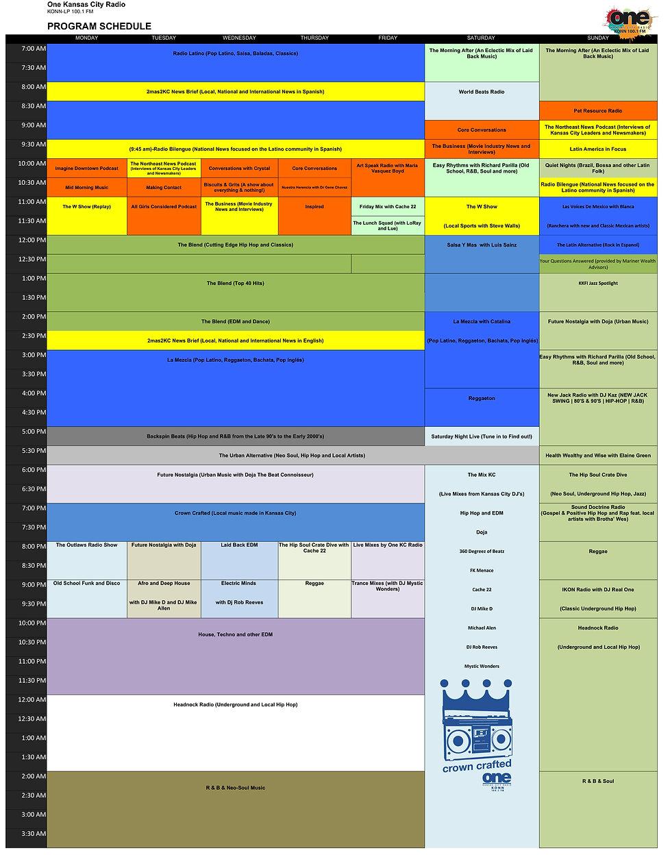 One Kansas City Program Schedule - Sheet