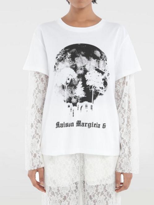 T-shirt con logo e maniche in pizzo   MM6