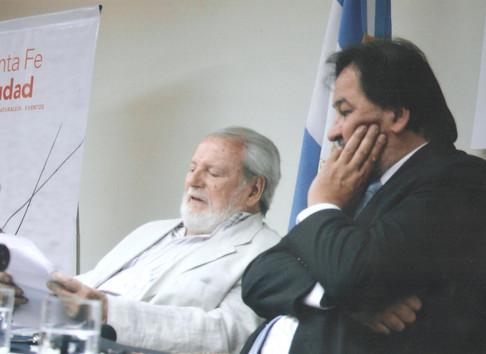 Con Rubén Vela, en la Casa de Santa Fe en Buenos Aires.