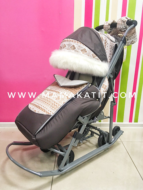 Санки-коляска Pikate Скандинавия, коричневый