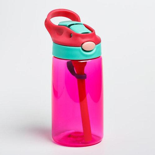 Поильник с трубочкой, мягкий носик, цвет розовый, 480 мл