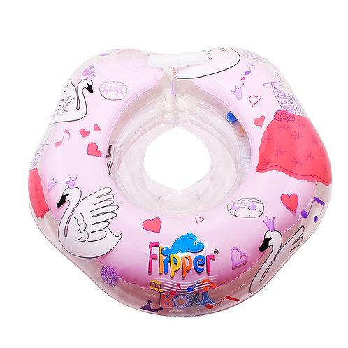 """Надувной круг на шею Flipper 0+ с музыкой """"Лебединое озеро"""" розовый"""
