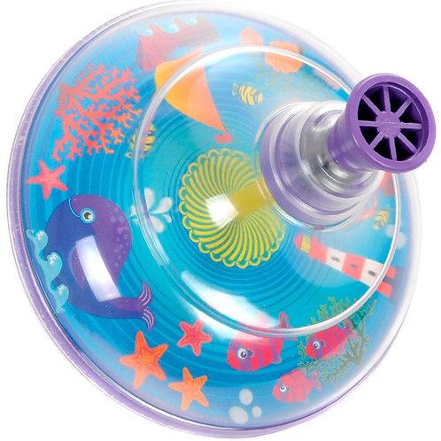 """Юла прозрачная """"Elefantino""""Море"""", цвет: фиолетовый пластик, в коробке 12,5*13*12"""