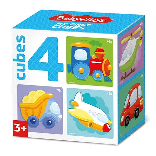 "Кубики ""Транспорт"" (без обклейки) 4 штуки, в коробке"