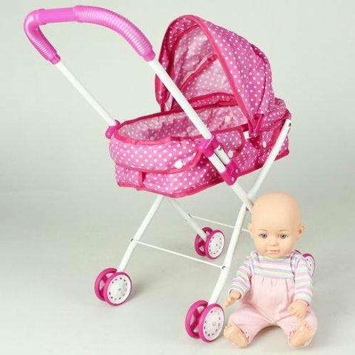 Коляска прогулочная для кукол, (металлическая, складная), в/п 30*64 см.