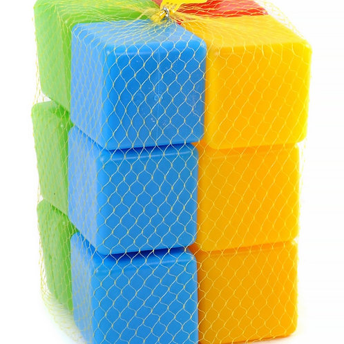 Кубики строительные 7 см. 12 эл. в сетке 14*14*21 см.
