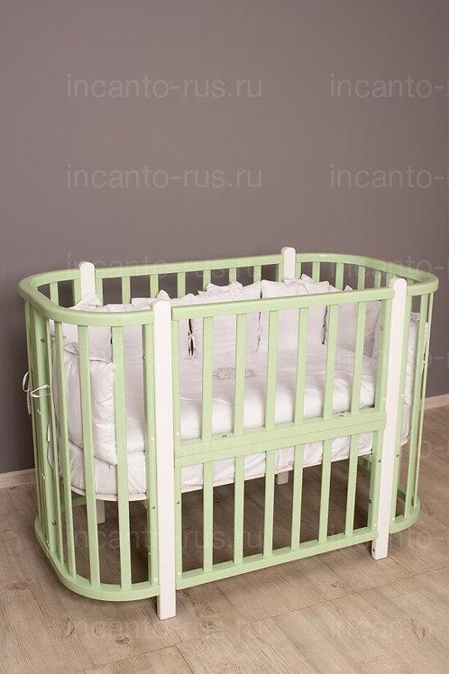 Кроватка-трансформер Incanto Nuvola 3 в 1, фисташковый / белый