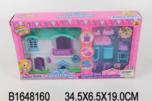 Домик для кукол с мебелью, в/к 34,5*6,5*19 см.