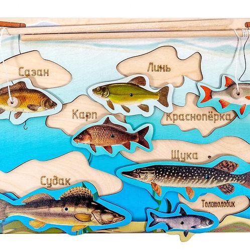 """Магнитная рыбалка """"Рыбки"""" 7 вкладышей, размер 210 х 290 мм."""