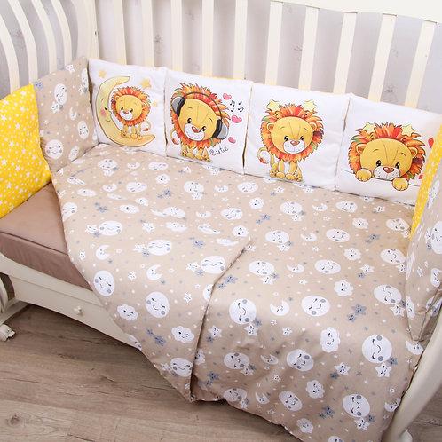 """Комплект в кроватку ПАННО 6 предм. """"Львенок""""(желтый / коричневый)"""