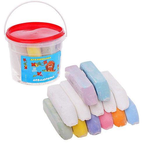 Мелки асфальтовые в ведёрке цветные 13 штук, 9*9*8 см