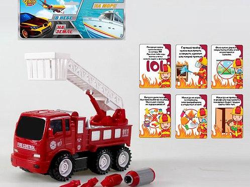 Машина пожарная - конструктор, в/п 19*29*8 см.