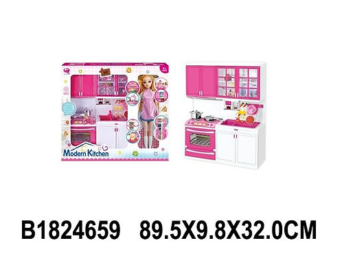 """Мебель для кукол """"Кухня"""" откр. двери, свет./звук. эффекты, в комплекте кукла, в/"""