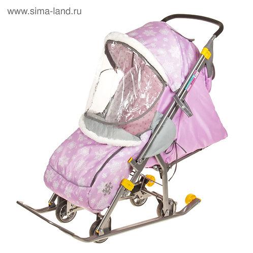 Санки-коляска Наши Детки, розовые снежинки