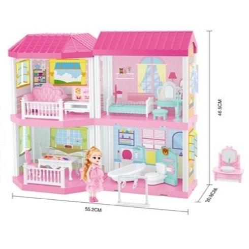Домик для кукол с мебелью и куклой в комплекте, 4 комнаты, в/к 48*13,2*29,3 см.