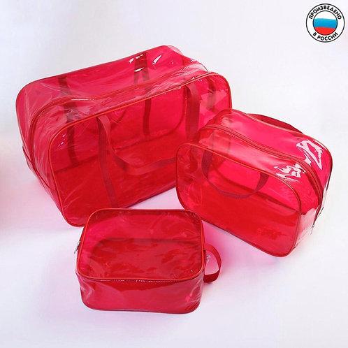 Комплект сумок в роддом 3 шт., красный