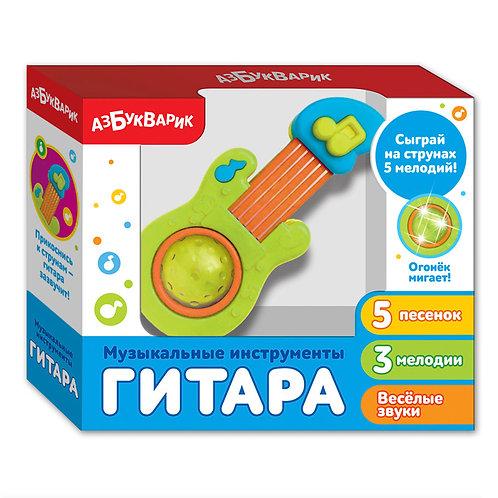 """Игрушка-музыкальный инструмент """"Гитара"""", цвет: зеленый, в/к 19*16*5 см."""