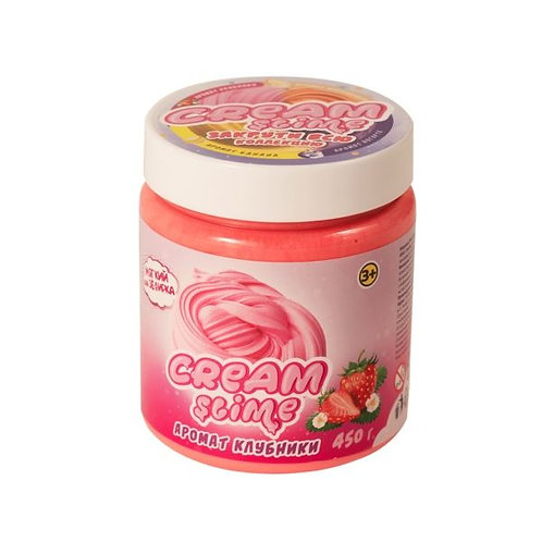 """Игрушка ТМ """"Slime"""" Cream-Slime с ароматом клубники, 250 г, в банке 7*9*7 см"""