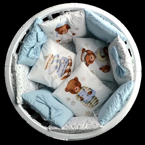 Набор постельного белья 18 предметов (СОП/3) голубой медвежонок