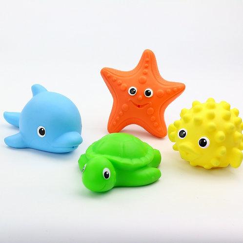 """Набор игрушек из ПВХ для купания """"Дельфин, Морская Звезда, Морской Еж, Черепашка"""