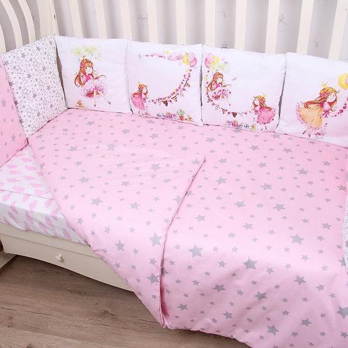 """Комплект в кроватку ПАННО 6 предм. """"Принцесска""""(розовый)"""