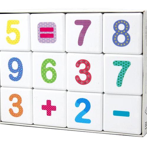 """Кубики """"Школа дошколят. Весёлая арифметика"""" 12 шт (без обклейки), в/к 16,5*12,5*"""