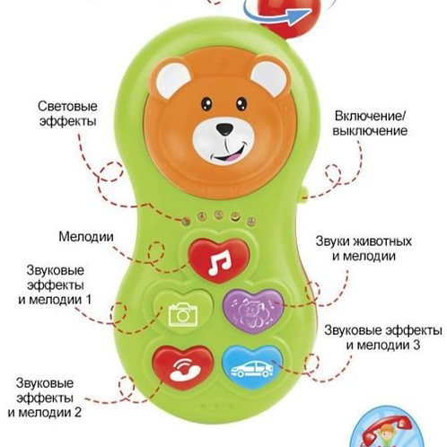 Телефон развив. на бат. звуки животных, звук. и свет. эффекты в/к 18*12,5*6 см