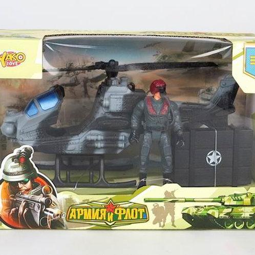 """Набор """"Военный"""" в комплекте: вертолёт, солдатик, в/к 28*12*18 см."""