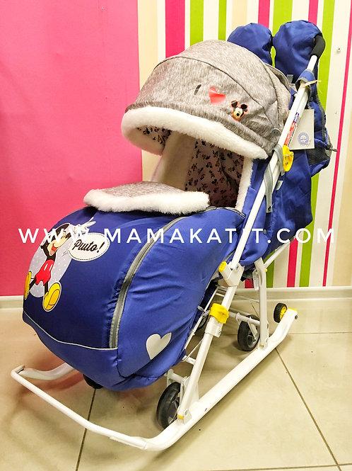 Санки-коляска Ника Disney Baby, цвет Микки Маус