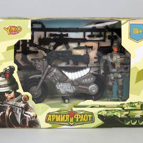 """Набор """"Военный"""" (мотоцикл, солдат, оружие), в/к 24,2*17*6,3 см."""