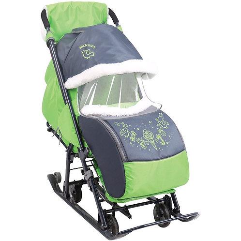 Санки-коляска Ника 7-1, серый / зеленый