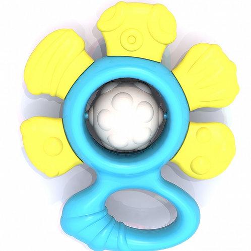 """Погремушка """"Цветочек"""", жёлто-голубой, в/п 11*10*3,5 см"""