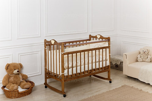 Кроватка Incanto Pali, колесо / качалка, орех