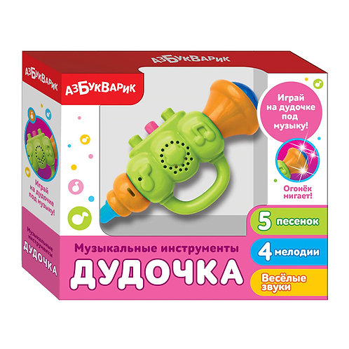 """Игрушка-музыкальный инструмент """"Дудочка"""", цвет зеленый, 19*16*5 см"""