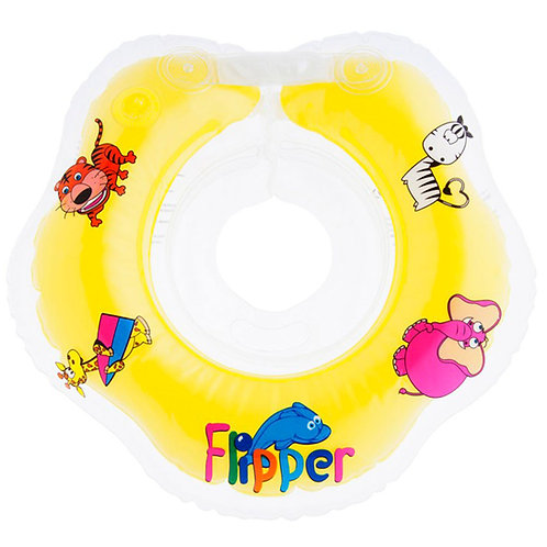 Надувной круг на шею для плавания малышей Flipper 0+ (желтый)