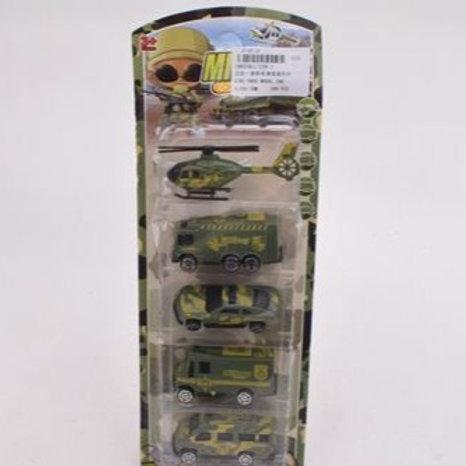 """Транспорт """"Военный"""" (4 машинки, вертолёт), на блист. 11,5*3*32 см."""