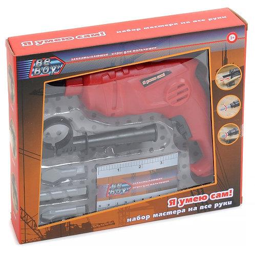 """Набор """"Инструменты"""" """"BeBoy"""" дрель на бат., в комплекте: 3 съемные насадки + лине"""