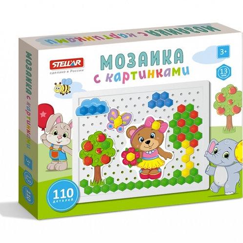 Мозаика с картинками (диаметр 13 мм.110 деталей), в коробке 24*19,5*3 см.