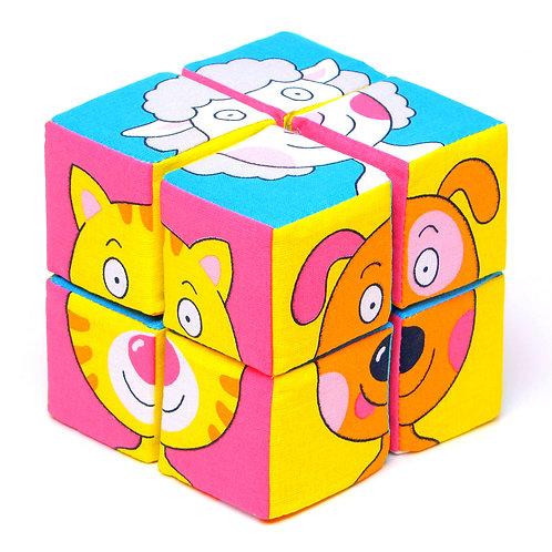"Игрушка кубики ""Собери картинку"" (Зверята), в пакете, 16*19*10 см"