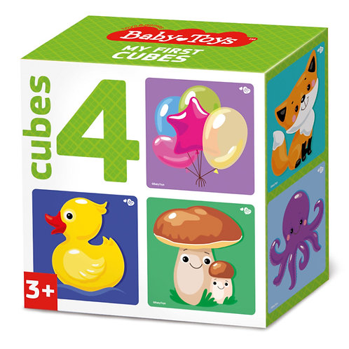 "Кубики ""Микс"" (без обклейки) 4 штуки, в коробке"