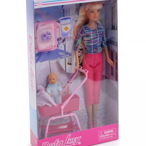 """Кукла+малыш """"Defa"""" в ассортименте, в коробке 32*6*18 см."""