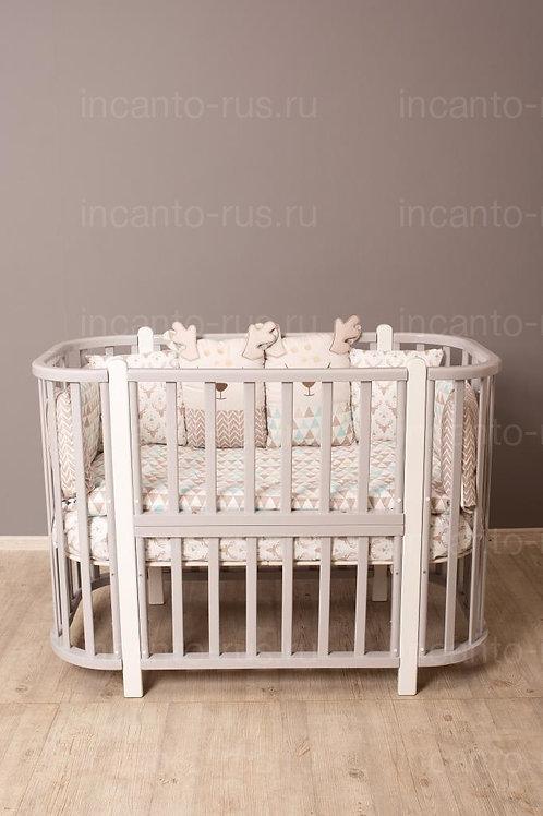 Кроватка-трансформер Incanto Nuvola 3 в 1, серый / белый