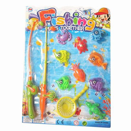 """Рыбалка пластиковая """"Веселый рыбак 11"""" (8 рыбок,2 удочки, 1 сачок), в блистере"""