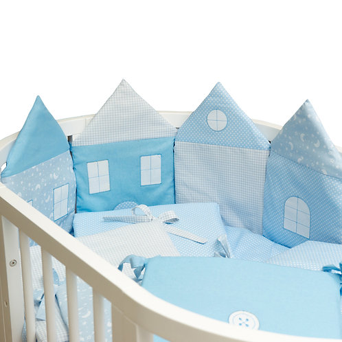 """Комплект в кроватку 14 предм. """"Домики"""" (борт состоит из 9 подушек), голубой"""