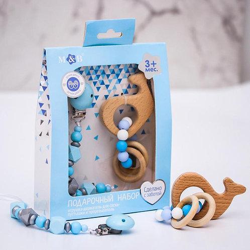 Подарочный набор: держатель для соски-пустышки и грызунок-прорезыватель «Малыш»