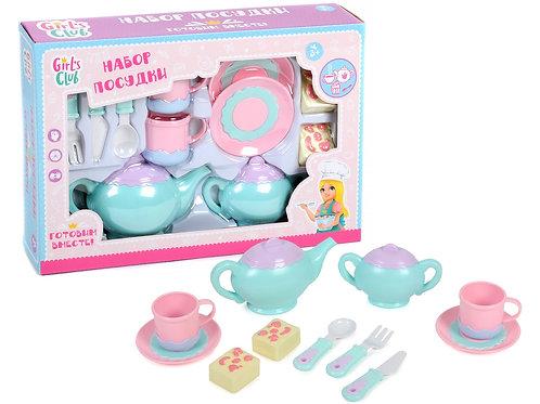 """Набор """"Посудка - Чайный сервиз""""Girl's club"""" в комп. продукты, в/к 35*7*24,5 см."""