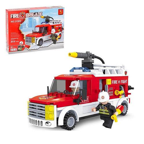 """Конструктор """"Пожарная машина"""" 210 дет. в/к 25,5*18,5*4,5 см."""