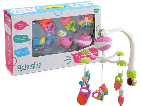 """Музыкальная карусель """"Elefantino"""" на бат. 20 нежных мелодий, 5 игрушек"""