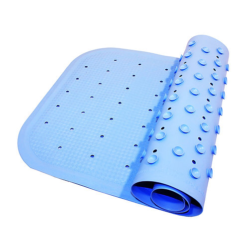 Коврик резиновый антискользящий (с отверстиями) для ванны, голубой